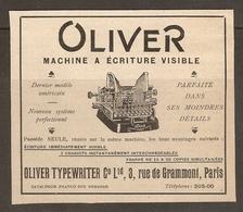PUBLICITE 1906 1907 MACHINE à ÉCRIRE OLIVER TYPEWRITER DERNIER MODELE AMÉRICAIN Co Ltd 3 RUE De GRAMMONT PARIS - Werbung