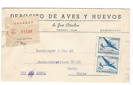 COVER CORREO URUGUAY- VIA AIR MAIL - MONTEVIDEO - BASLE - SUIZA - CERTIFICADO. - Uruguay