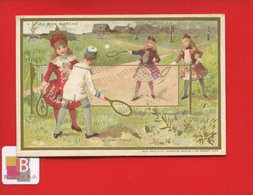 Superbe état AU BON MARCHE Chromo Dorée Vallet Minot Sport Tennis Enfant 1890 Jamais Collée - Au Bon Marché