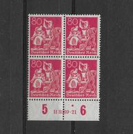 DEUTSCHES REICH 1921 Mi 166 BLOC DE QUATRE + HAN - Nuovi