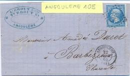 CHARENTE : LAC ANGOULEME GC 105 TàD 12 JUIN 65 - NAPOLEON III 20 C. YT 22 - Storia Postale
