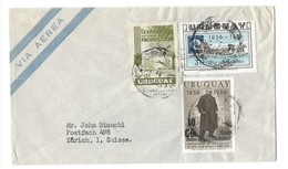 COVER CORREO URUGUAY - VIA AEREA  - MONTEVIDEO -  - ZURICH - SUISSE. - Uruguay