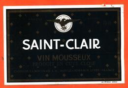 étiquette De Vin Mousseux Saint Clair Caves De La Bouvraie à Ingrandes Sur Loire - 75 Cl - Etiquettes