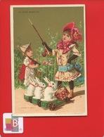 Superbe état AU BON MARCHE Chromo Dorée Vallet Minot  Lapin Tambour Chapeau Papier 1890 Enfants  Jamais Collée - Au Bon Marché