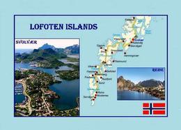 Lofoten Islands Map Norway New Postcard Landkarte AK - Norwegen