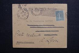 FRANCE - Enveloppe De Service Anglaise, De Paris Pour Un Capitaine à Lyon ( En Poste Restante) En 1918 - L 48485 - 1877-1920: Periodo Semi Moderno