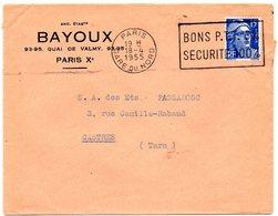 PARIS GARE Du NORD 1955 = FLAMME SECAP  ' BONS PTT 6% = SECURITE 100%' - Postmark Collection (Covers)
