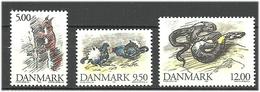 Denmark  1994  Animals, Sparrow, Badger,  Squirrel, Black Groose, Grass Snake  Mi  1086-1090 MNH(**) - Danimarca