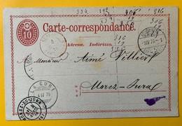 9530 - Entier Postal 10 Ct Rouge Neuchâtel 03.04.1876 La Cure 04.04.1876 Morez-du-Jura 04.04.1876 - Entiers Postaux