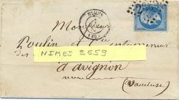 GARD : LAC NIMES GC 2659 TàD  4 MARS 66 - NAPOLEON III 20 C. YT 22 - Marcophilie (Lettres)