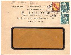 PARIS GARE NORD PROVINCE D 1947 =  CACHET MANUEL A4 +  Ets LOUYOT - Marcofilia (sobres)