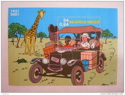 België Belgique 2001 Kuifje In Afrika Tintin Au Congo Hergé 3049 Bloc BL93 Yv 88 MNH ** - Blokken 1962-....