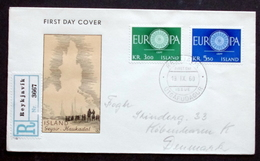 Iceland 1960 EUROPA MiNr.343-44 FDC (parti 119) FOGHS COVER - FDC