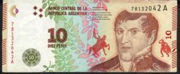 ARGENTINA P360  10 PESOS 2016 Serie A Signature 85    VF NO P.h. - Argentina