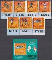 Mahra State (Aden) 1968 Mi # 115-21 А Bl 13 А Mexico City & Munich Summer Olympics, US Olympic Champions, MNH OG - Verano 1968: México
