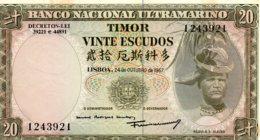 TIMOR     20 ESCUDOS  24/10/1967   Régulo D. Aleixo - Portugal