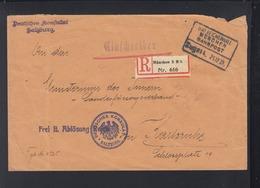 Dt. Konsulat Salzburg R-Brief München Bahnpost Nach Karlsruhe - 1918-1945 1. Republik