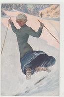 Frau Beim Telemark - Künstlerkarte            (A-142-190524) - Wintersport