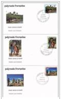 3  FDC  POLYNESIE -LA JOURNEE MONDIALE DU TOURISME -  27 09 1993 - YT. 440 / 44 - FDC