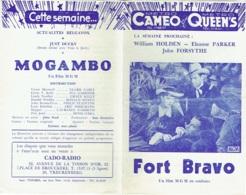 Publicité-Programme. Cinéma  Cameo Et Queens. Fort Bravo. - Publicité Cinématographique