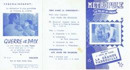 Publicité-Programme. Cinéma  Métropole. La Grande Vadrouille. - Publicité Cinématographique