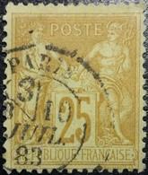 France N°92 Sage 25c. Bristre Sur Jaune . Oblitéré CàD Paris - 1876-1898 Sage (Type II)