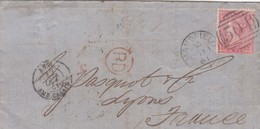 GB. COVER . 11 OCT 62. FOUR PENCE. 504 MANSFIELD. PD TO LYON. ENTREE ANGL. AMB.CALAIS E  /  2 - 1840-1901 (Victoria)
