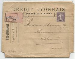 SEMEUSE 35C MAIGRE N°136 PERFORE CL SEUL PAPIERS AFFAIRES REC LIMOGES 1907 RARE - Storia Postale