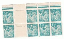 1f Iris Yvert 650, Nombreux Manques D'impression Dans Un Bloc De 8, ** - 1939-44 Iris