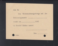 Dt. Reich 2.WK Bordell Stalino Sanierungsschein - Historische Dokumente