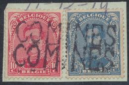 """émission 1915 - N°138 Et 141 Sur Fragment + Griffe De Fortune X2 """"COMINES"""" - 1915-1920 Alberto I"""