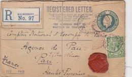 GB. COVER . 29 MAR 21. REGISTERED LETTER. MALMESBURY TO PAU. FEE PAID  /  2 - 1902-1951 (Rois)