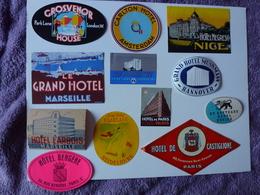 LOT N° 4 DE 12 ETIQUETTES D'HÔTEL, VOIR SCAN - Etiquettes D'hotels