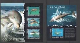 ST681 2014 GUINEE GUINEA FAUNA MARINE LIFE DOLPHINS DAUPHINS KB+BL MNH - Delfine