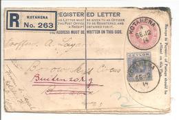 Postal Stationary Entier Uprated R-Letter Ceylon Kotahena To Nederl.Indië Weltevreden-Buitenzorg.Kol.Tent.Semarang Welte - Ceylon (...-1947)