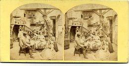 Photos Stéréoscopiques - Scène De Genre - Fileuse  Au  Rouet Dans Intérieur  Bourgeois - D 164 - Stereoscopio