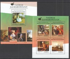 ST725 2014 GUINEE GUINEA ART GREAT PAINTERS THOMAS GAINSBOROUGH KB+BL MNH - Andere