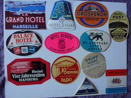 LOT N° 8 DE 12 ETIQUETTES D'HÔTEL, VOIR SCAN - Etiquettes D'hotels