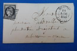53 FRANCE LETTRE 1849 N 3 IER AN MARGES LARGES OBLITERATION PLAISANTE FELLETIN A  AUBUSSONN - 1849-1850 Ceres