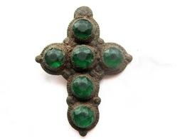 Stunning Medieva Period Bronze Cross Pendant With 6 Stones - Archeologia