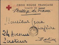 Guerre 39 45 Enveloppe Croix Rouge Française Comité De Dakar Message De France CAD Dakar Principal Sénégal - Sénégal (1887-1944)