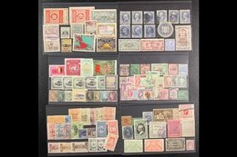 SENSATIONAL BOX OF PHILATELIC CURIOSITIES  An Exciting Array Of All Period Worldwide Stamps Randomly Arranged On Over 80 - Stamps