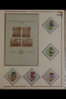FOOTBALL (SOCCER) COLLECTION IN THREE ALBUMS  1928-1990 Worldwide Stamps (mostly Never Hinged Mint), Miniature Sheets, C - Stamps