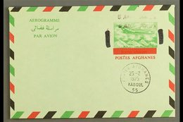 AEROGRAMME  1972 8a On 14a Green, Red & Black, Type I With Black SURCHARGE DOUBLE Variety, Very Fine CTO Used. For More  - Afghanistan