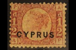 1880  ½d Rose, Plate 15, SG 1, Fine Mint. For More Images, Please Visit Http://www.sandafayre.com/itemdetails.aspx?s=647 - Cyprus