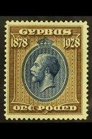 1928  £1 Blue & Bistre Brown, SG 132, Fine Mint For More Images, Please Visit Http://www.sandafayre.com/itemdetails.aspx - Cyprus