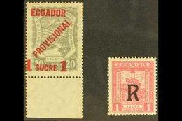 "SCADTA AIR ISSUES  1928 ""Provisional"" 1s On 20s Grey (Scott C3, Mi 3), Plus 1929 Air Post Registration 1s (Scott CF2, Mi - Ecuador"