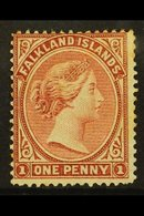 1878-79  1d Claret, No Watermark, SG 1, Mint With Part Original Gum, Crease And A Few Toned Perfs, Cat £750. For More Im - Falkland Islands