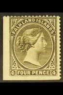 1885-91  4d Grey Black Wmk Sideways, SG 10, Unused No Gum Lower Left Corner Example With Two Straight Edges, Minute Thin - Falkland Islands