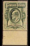 1904  3s Green Ed VII, SG 49, Very Fine Marginal Mint. For More Images, Please Visit Http://www.sandafayre.com/itemdetai - Falkland Islands